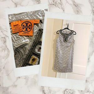 Tory Burch ▪ Metallic Shift Dress, Jeweled Collar